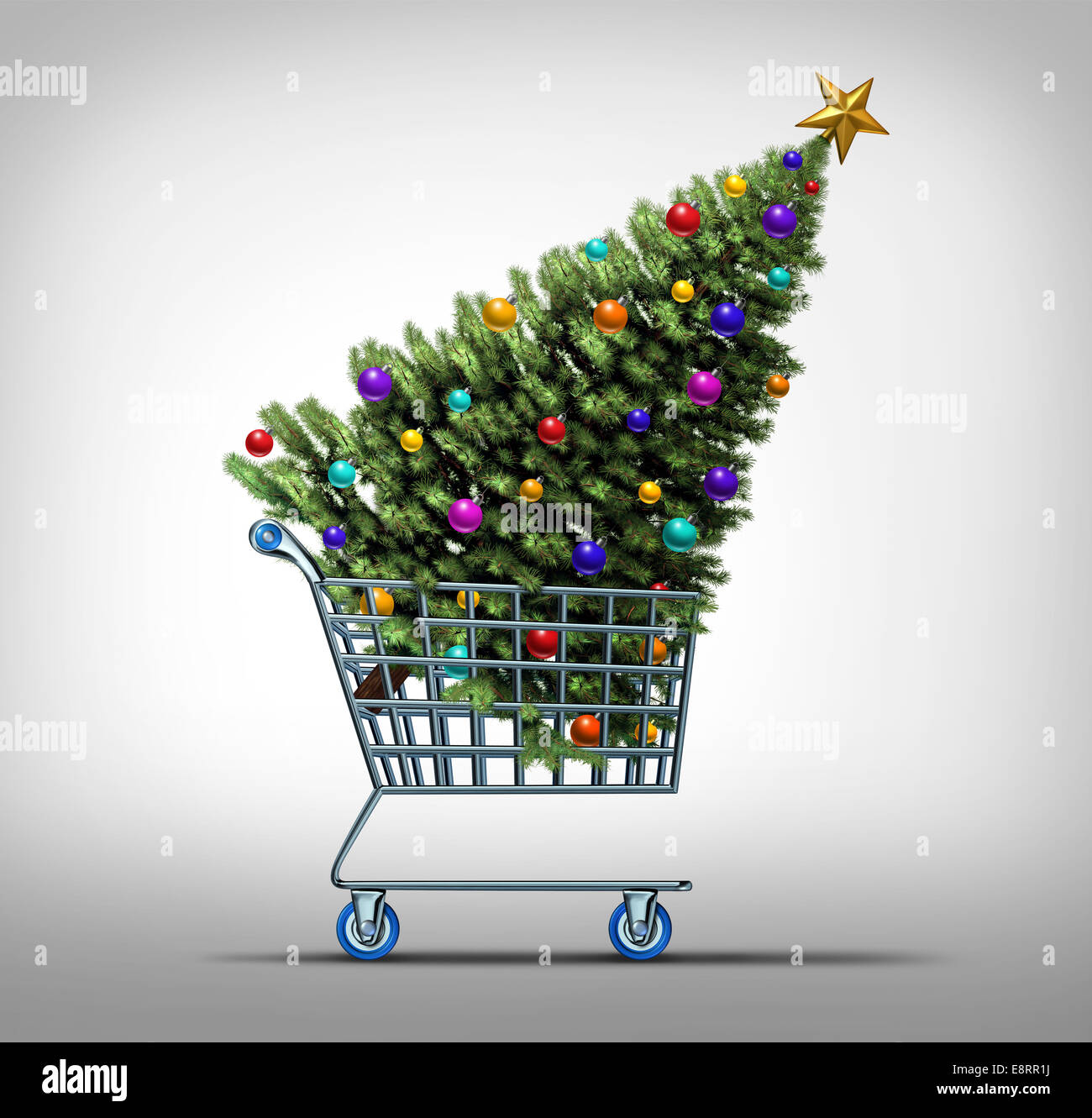 Christmas shopping concept as a store shop cart hauling a decorated festive holiday pine tree as a symbol for black - Stock Image