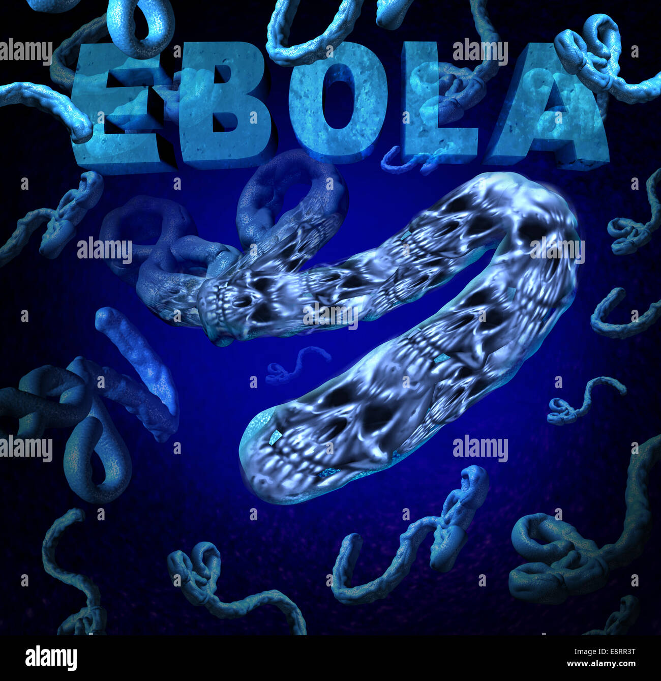Ebola outbreak danger as a deadly virus disease medical concept with death skull symbols representing dangerous - Stock Image