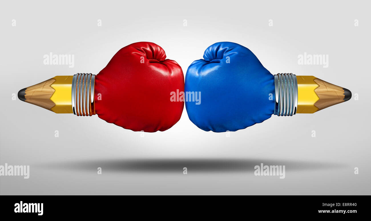 Education battle concept as two pencils with boxing gloves fighting for opposing learning and school curriculum - Stock Image