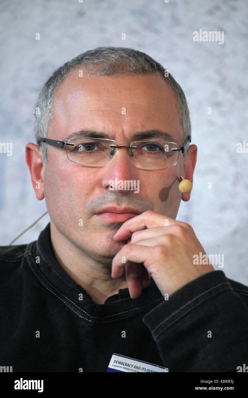 Prague, Czech Republic. 13th October 2014. Russian former oil tycoon and political prisoner Mikhail Khodorkovsky - Stock Image