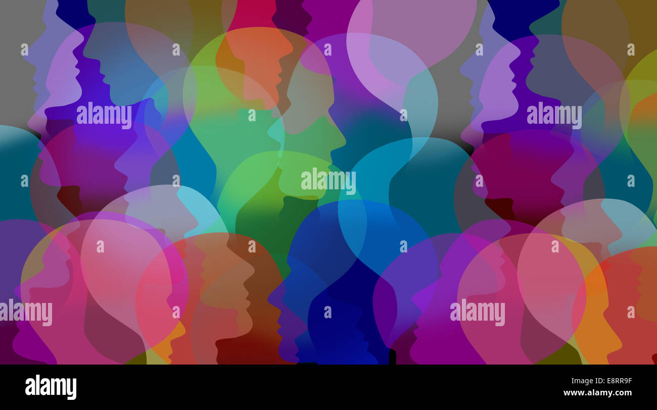 Social collaboration network and people networking communication as a connected group of people faces or human heads - Stock Image