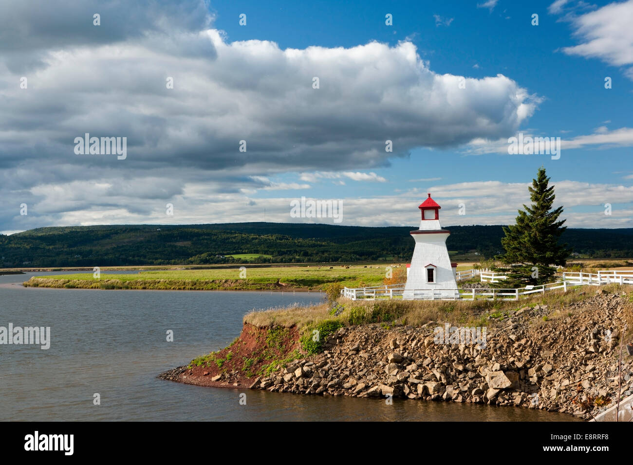 Anderson Hollow Lighthouse at Shipyard Park at Harvey Bank - Mary's Point Road, Harvey, New Brunswick, Canada - Stock Image