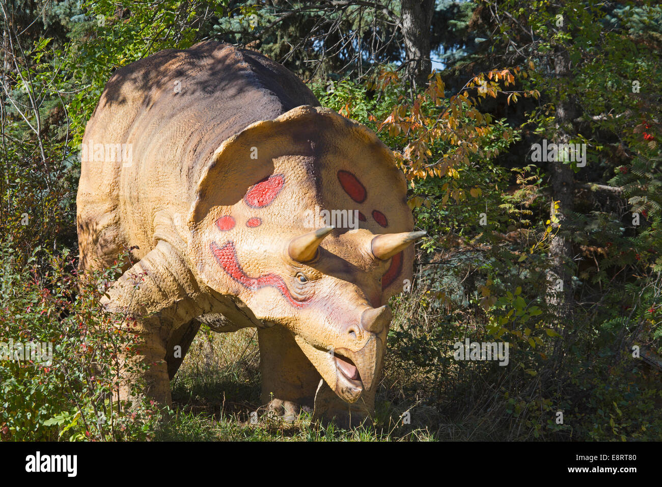 Dinosaur model at the Calgary Zoo prehistoric park - Stock Image