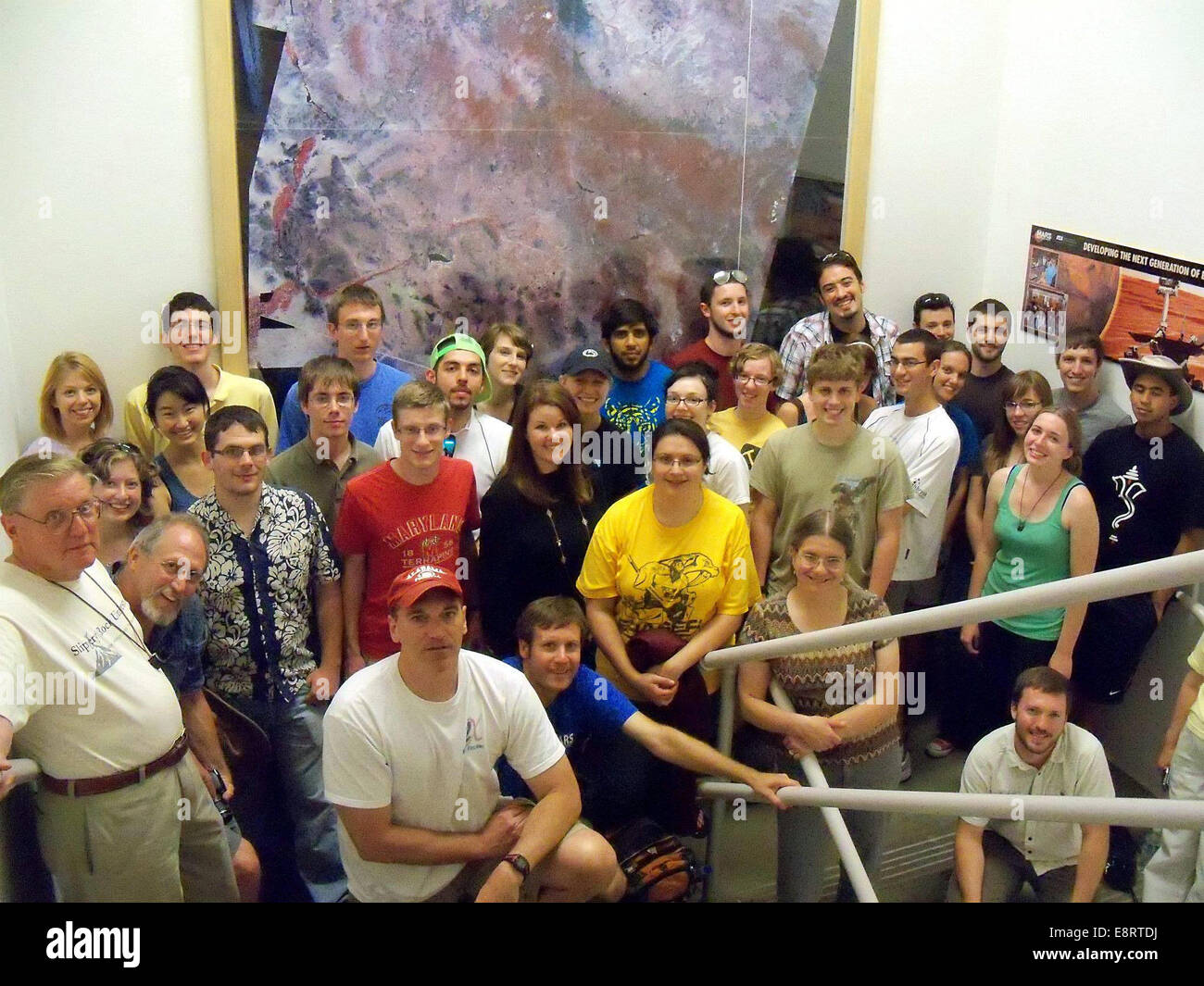 The 2012 Lunar and Planetary Science Academy (LPSA) interns and trip leaders:  Back Row (from L to R): Nicole Thom - Stock Image