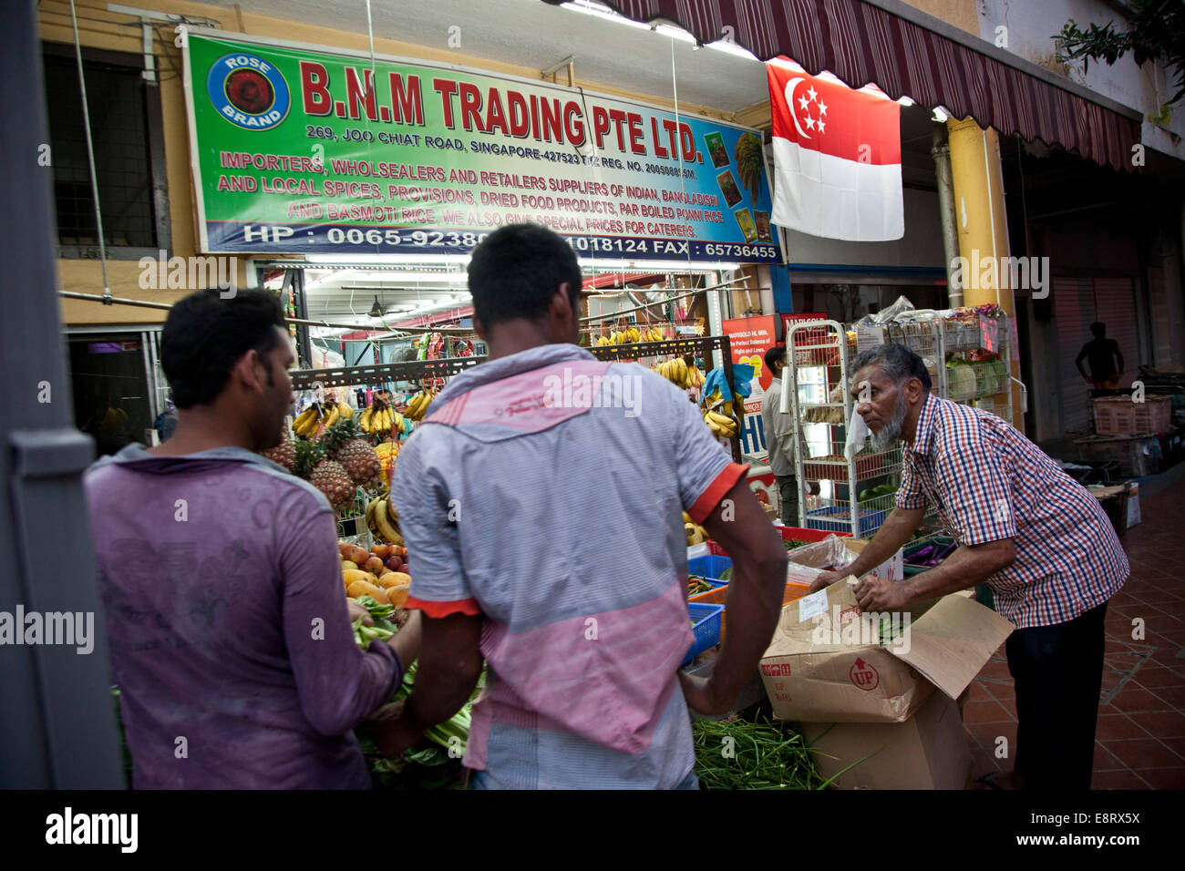 Food and vegetable shop in Little India, Singapore Stock