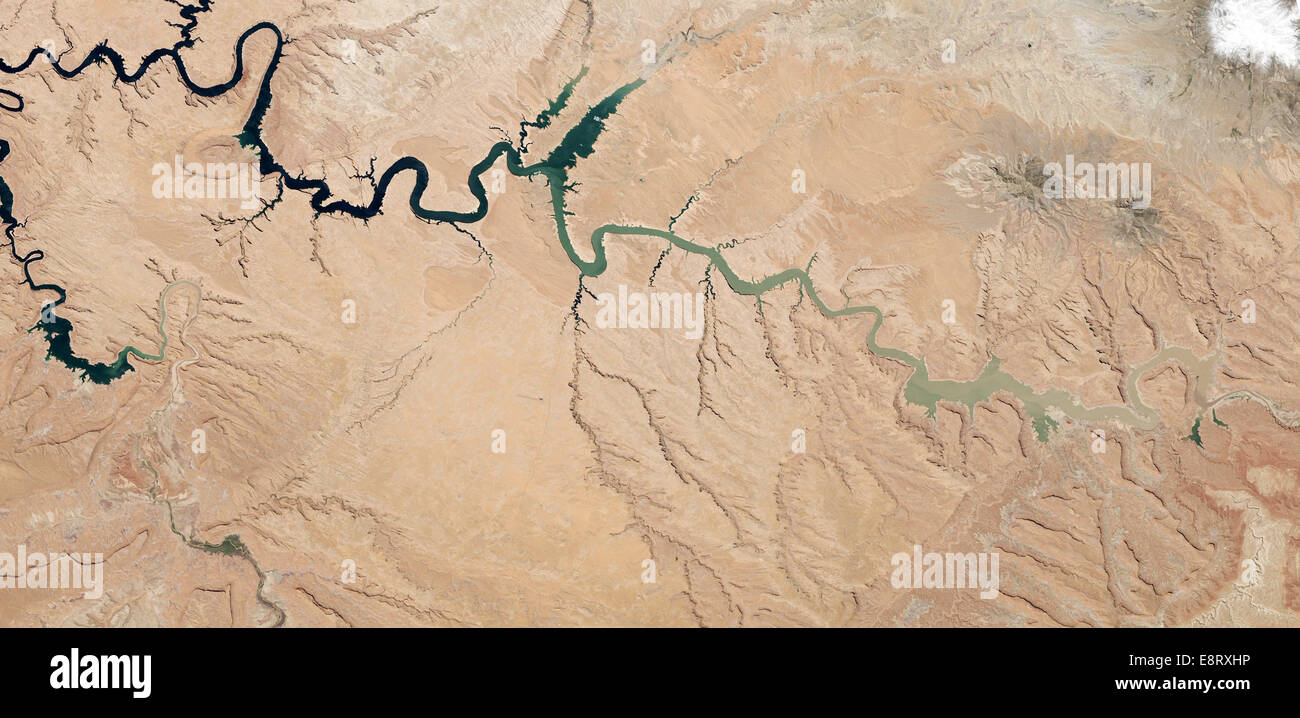 After 14 years of drought, Lake Powell was at 42 percent of its capacity as of May 20, 2014. The low water levels - Stock Image