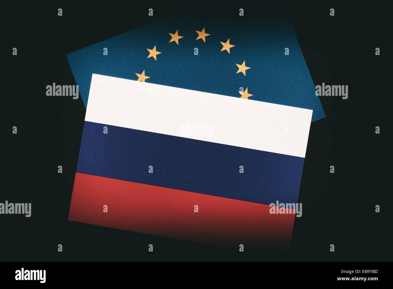 Russian and European Union flags. Black Background. - Stock Image