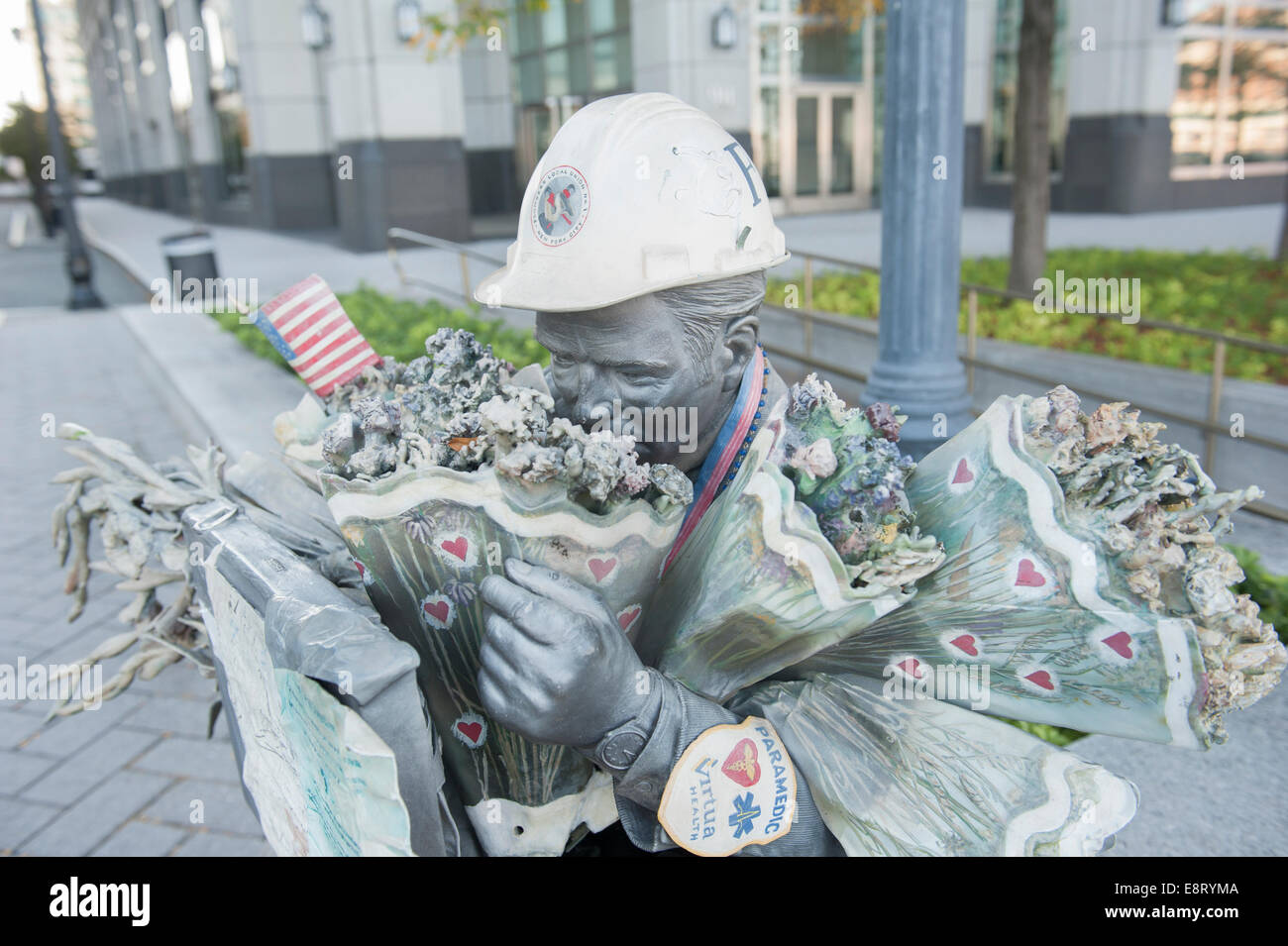 A statue on the Jersey City waterfront commemorates the people who died in the World Trade Center attack on Sept. Stock Photo