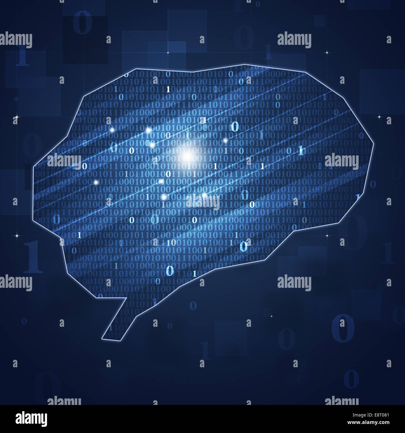 abstract binary code brain concept technology and business background - Stock Image