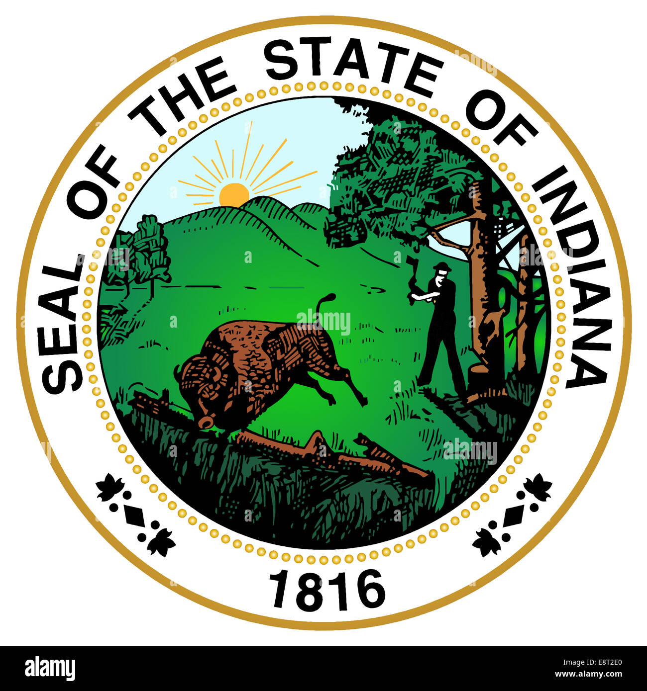 The great seal of the state of Indiana - Stock Image