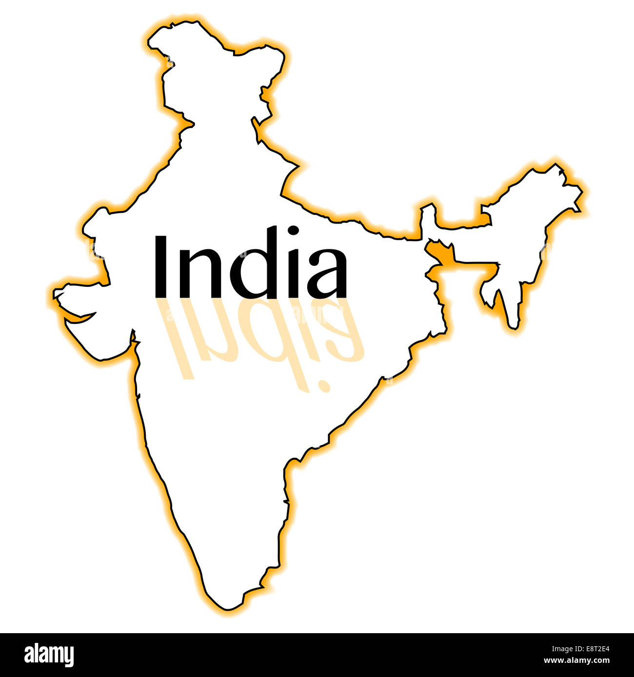 Outline Map Of India Over A White Background Stock Photo 74287532