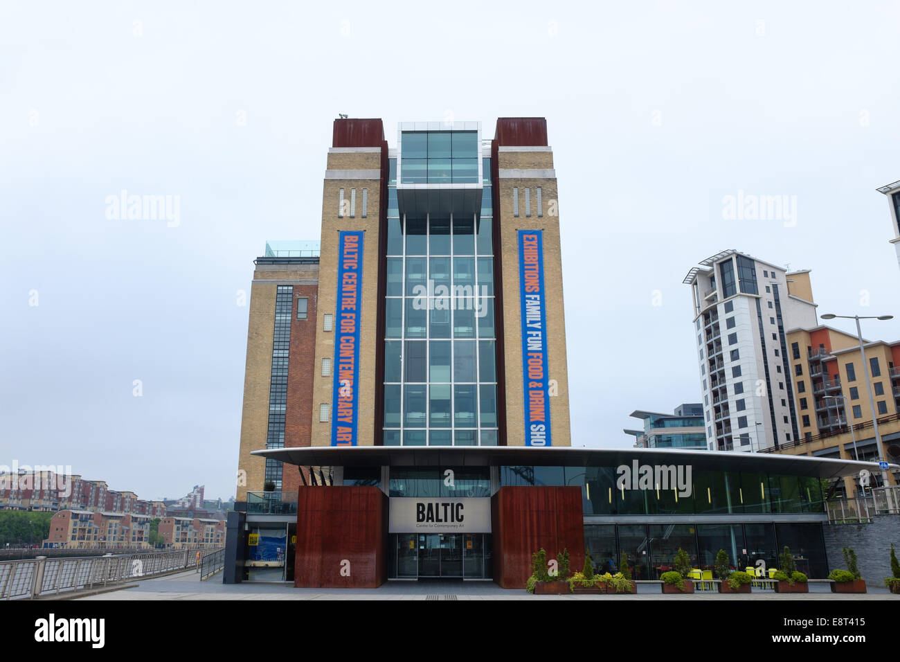 A renovated building - The entrance exterior of the BALTIC Centre Center for Contemporary Art, Gateshead Quays Arts - Stock Image