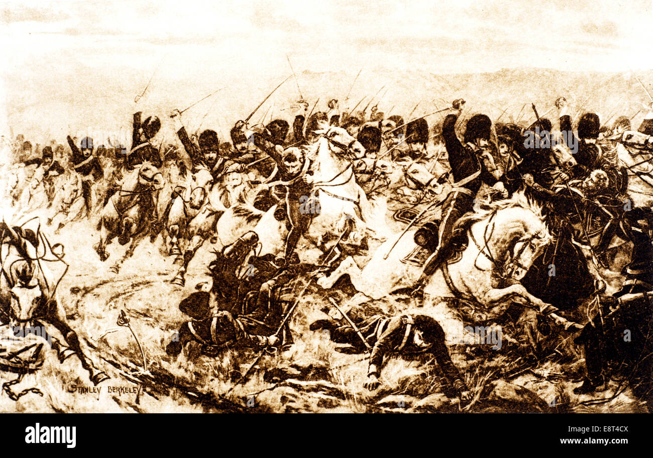 1800s 1850s 1854 CHARGE FOR THE 600 AT BALACLAVA THE CRIMEAN WAR - Stock Image