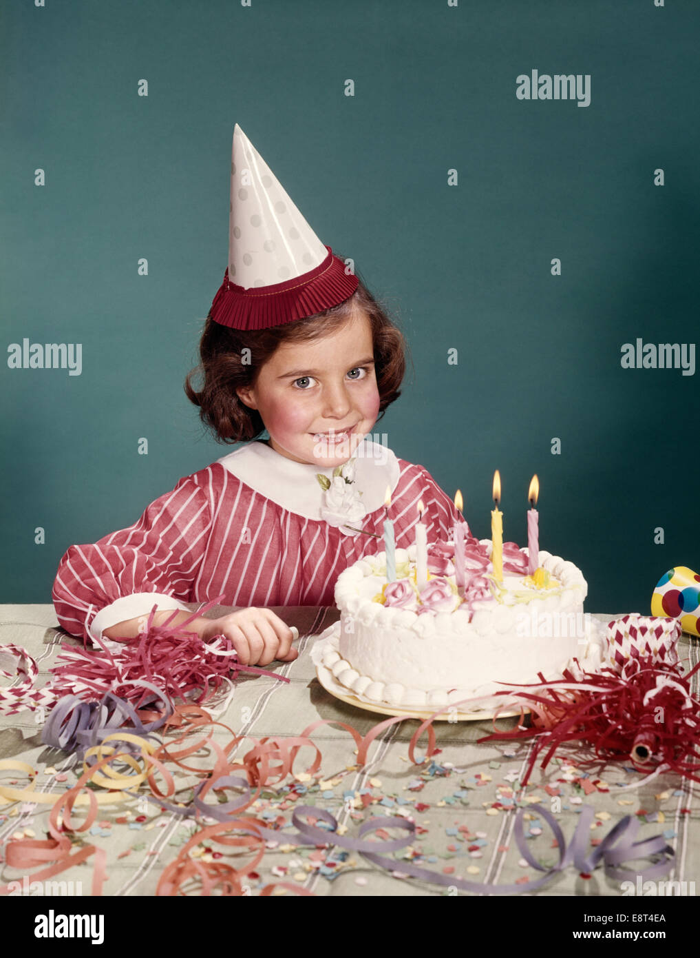 Magnificent 1960S Smiling Girl Pink Stripe Dress With Party Hat Birthday Cake Funny Birthday Cards Online Barepcheapnameinfo