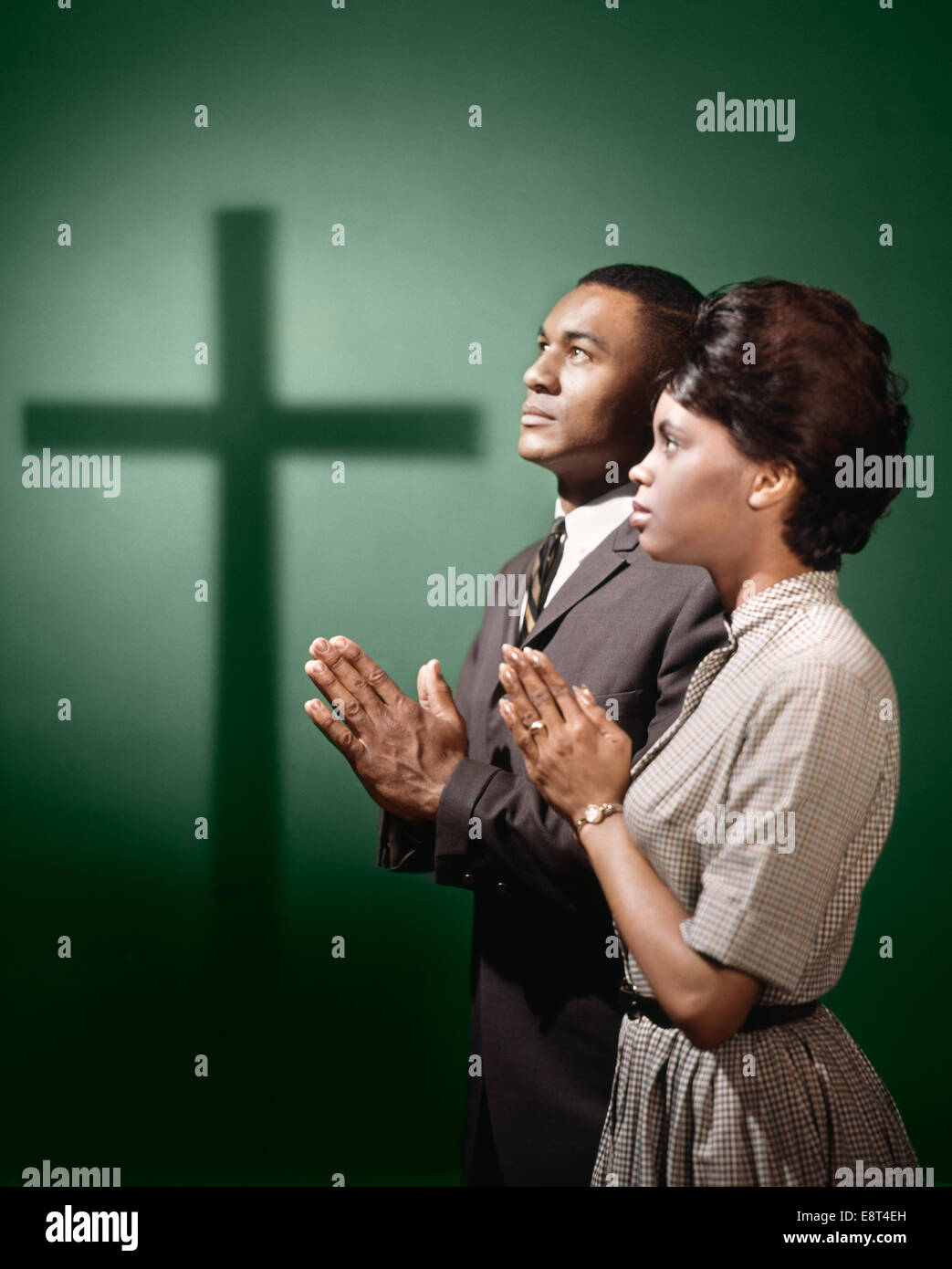 1950s 1960s African American Couple Man Woman Praying By