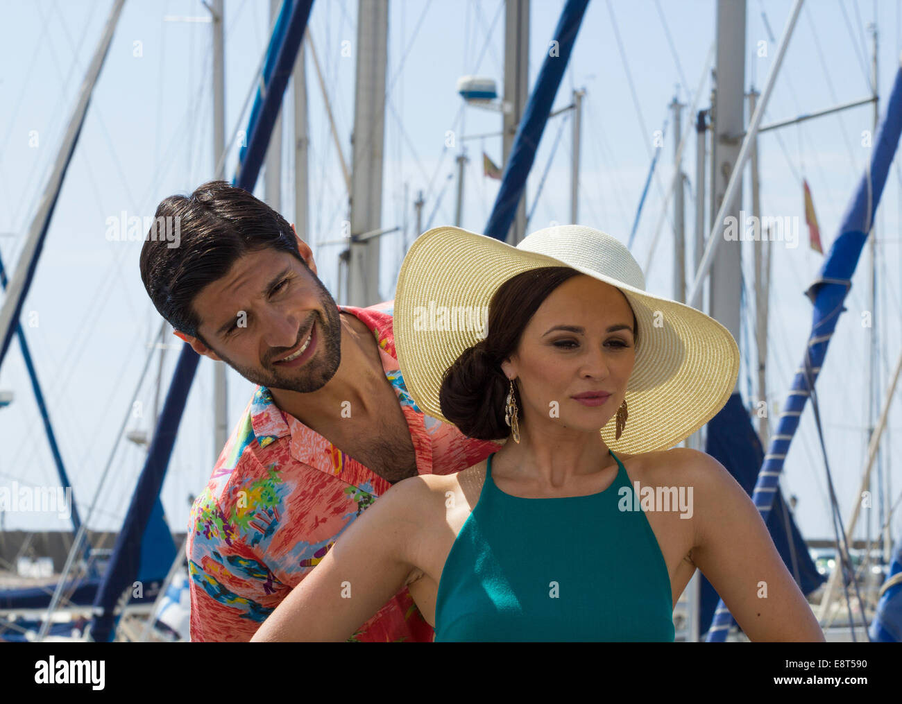 Actors, Kayvan Novak (L) and Emma Pierson (R) on location on Gran Canaria filming new BBC comedy series, `Sun trap` - Stock Image