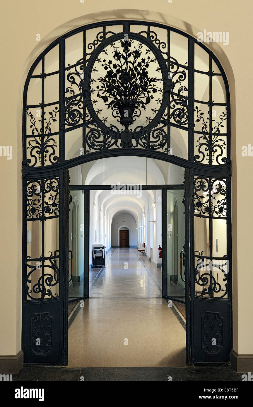 Wrought iron door, Palace of Justice, Munich, Bavaria, Germany - Stock Image