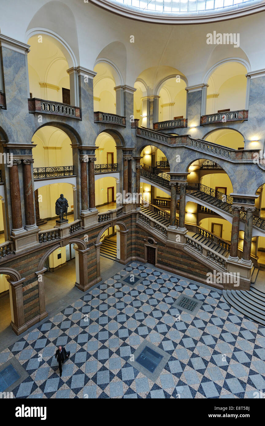 Atrium, staircase, Palace of Justice, Munich, Bavaria, Germany - Stock Image