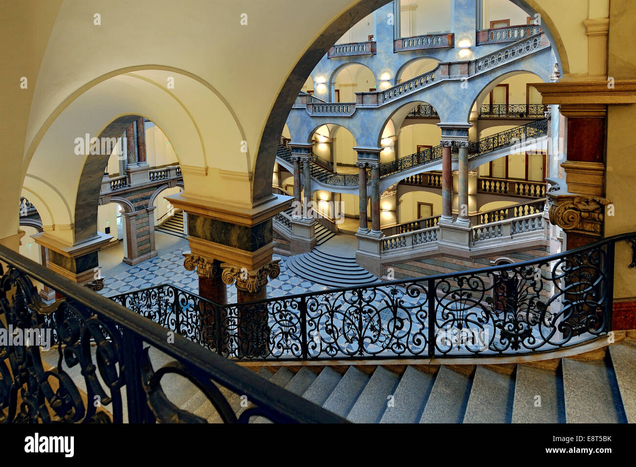 Staircase, Palace of Justice, Munich, Bavaria, Germany - Stock Image