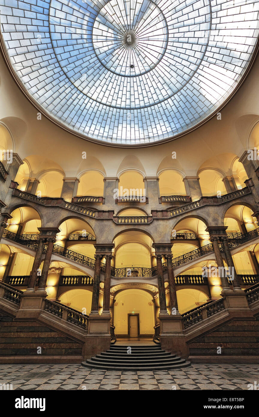 Dome in the atrium, staircase, Palace of Justice, Munich, Bavaria, Germany - Stock Image