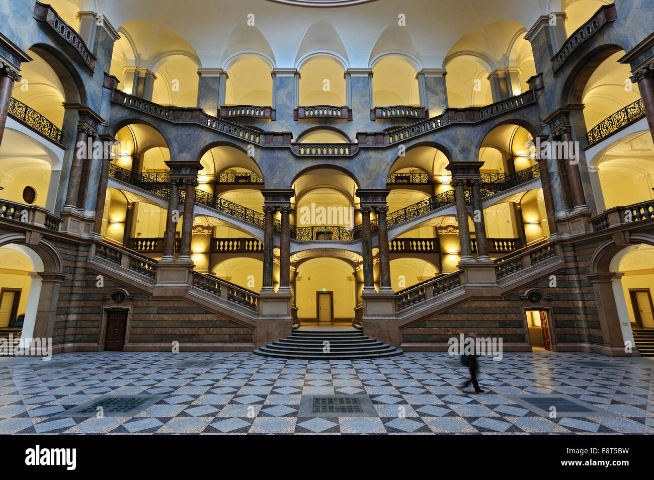 Atrium and staircase, Palace of Justice, Munich, Bavaria, Germany - Stock Image