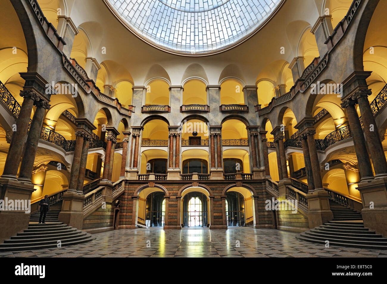 Entrance with atrium and staircase, Palace of Justice, Munich, Bavaria, Germany - Stock Image