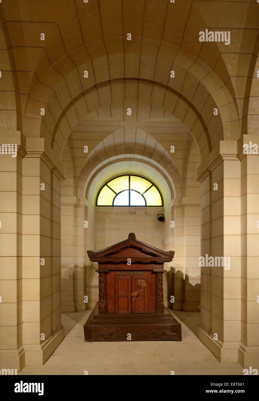 Sarcophagus of Rousseau in the Pantheon, Paris, Île-de-France, France - Stock Image