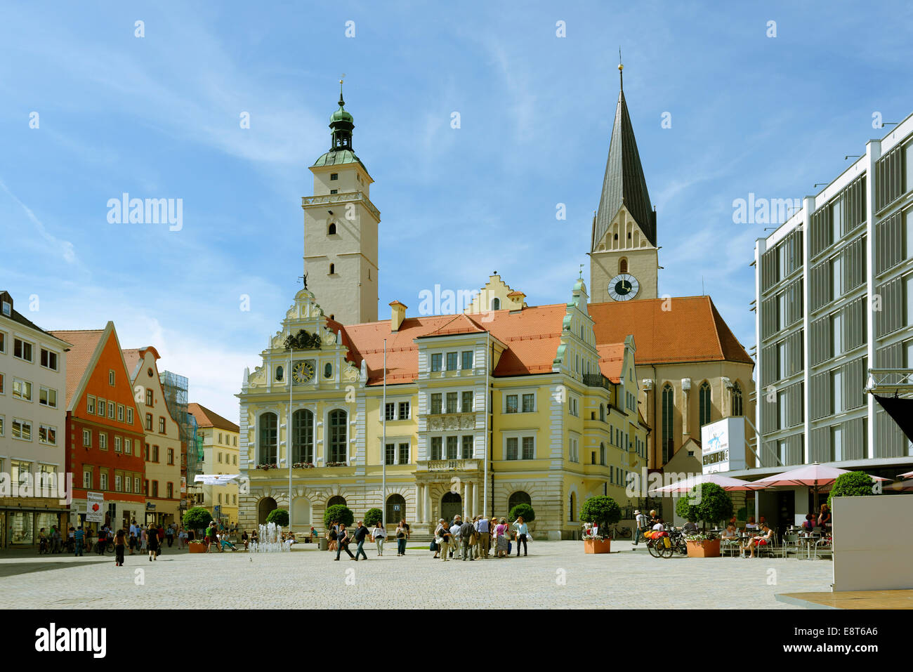 Old and New Town Hall, town hall square, Ingolstadt, Upper Bavaria, Bavaria, Germany Stock Photo