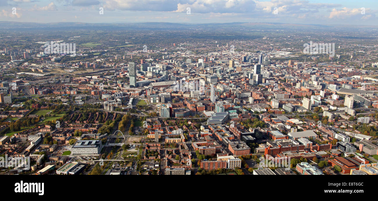 aerial panoramic view of the Manchester city centre skyline, UK - Stock Image