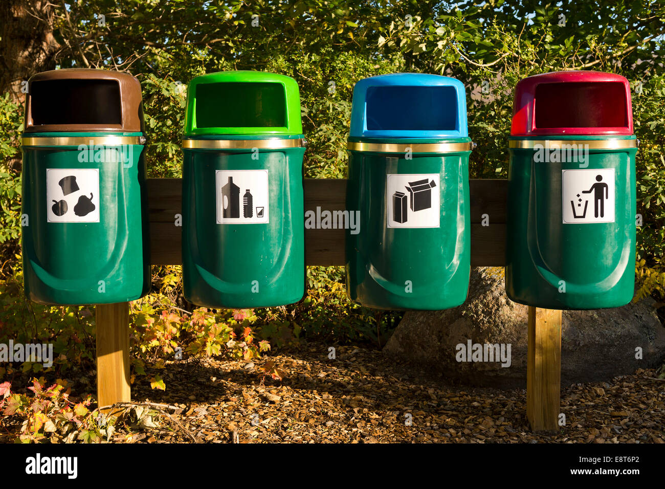 Rubbish bins for waste separation, Iceland - Stock Image