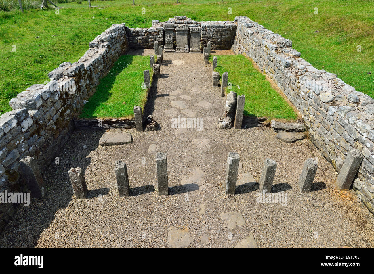 Temple of Mithras from the 3rd century, Hadrian's Wall, Carrawburgh, Northumberland, England, United Kingdom - Stock Image