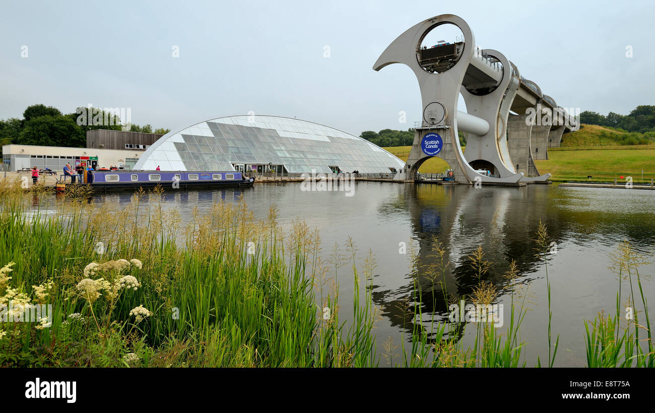 The Falkirk Wheel, unique boat lift in the shape of a ferris wheel, connecting the Forth and Clyde Canal with the - Stock Image