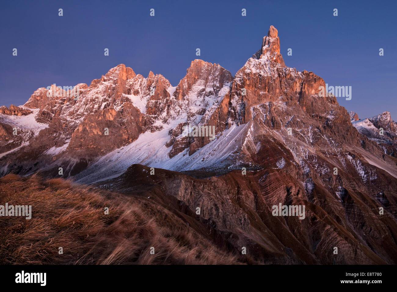 Rolle Pass at dusk in autumn, Dolomites, Trentino, Italy - Stock Image
