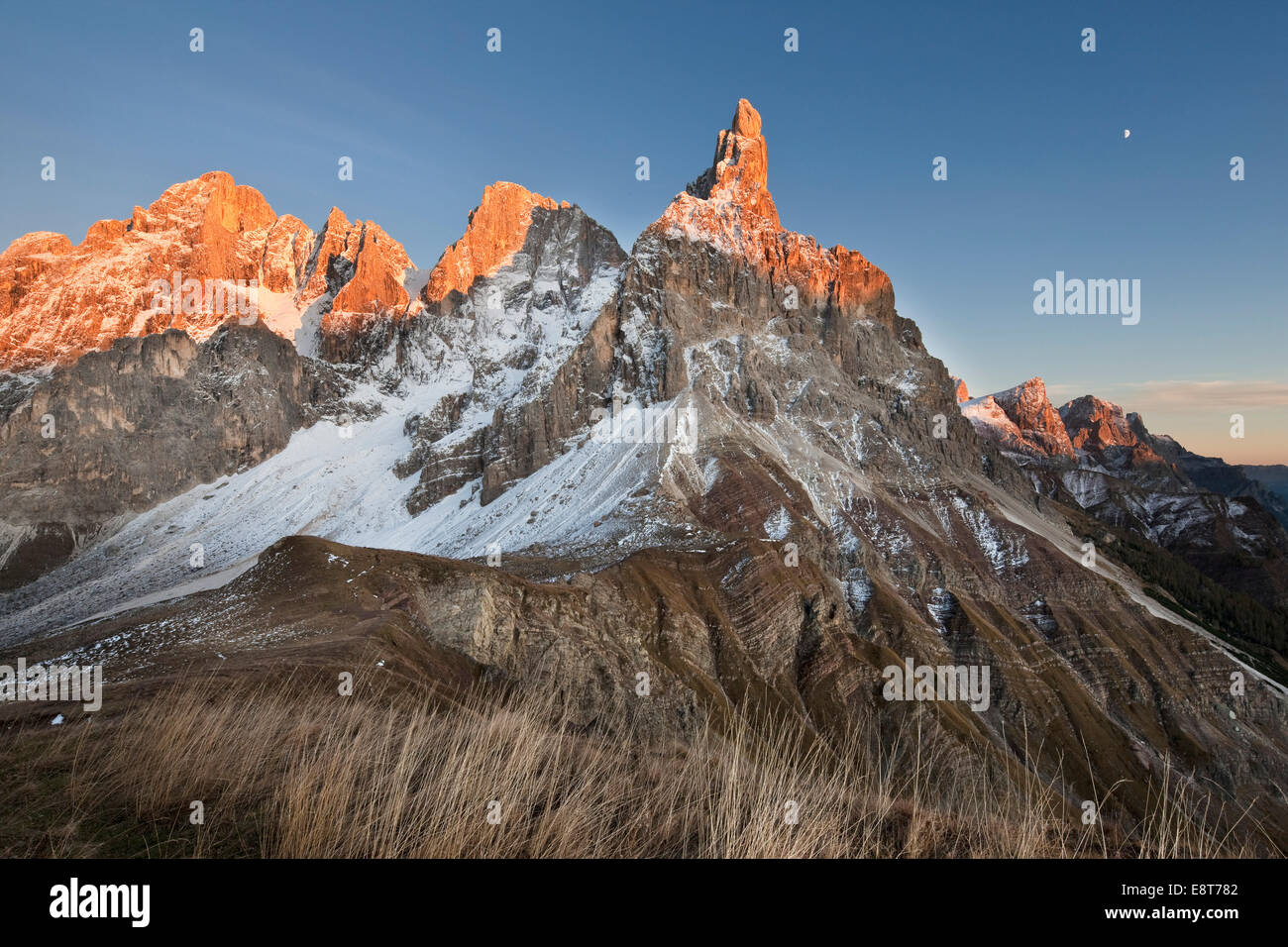 Rolle Pass at sunset in autumn, Dolomites, Trentino, Italy - Stock Image