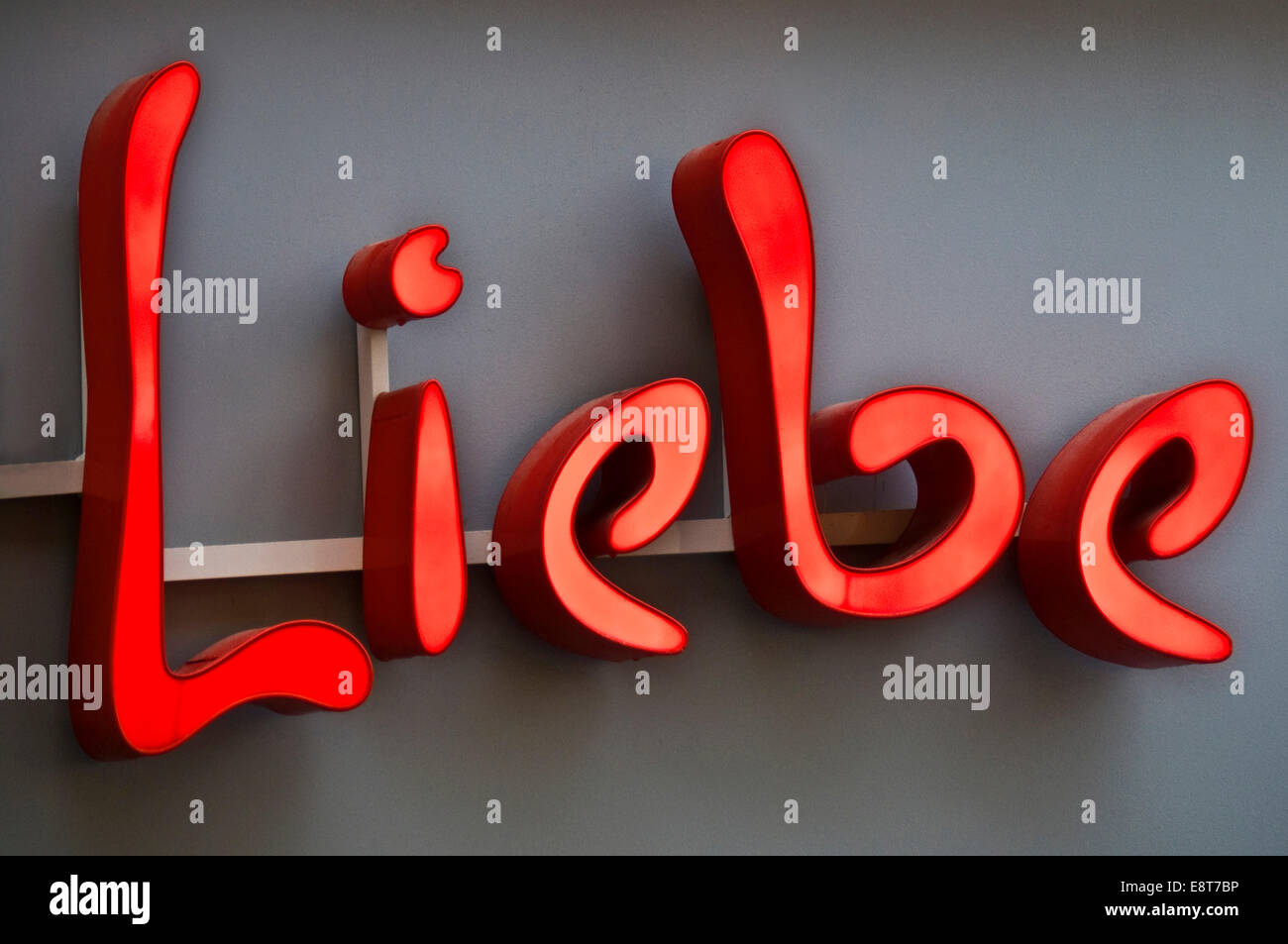 Neon Sign With The Word Liebe German For Love Stock