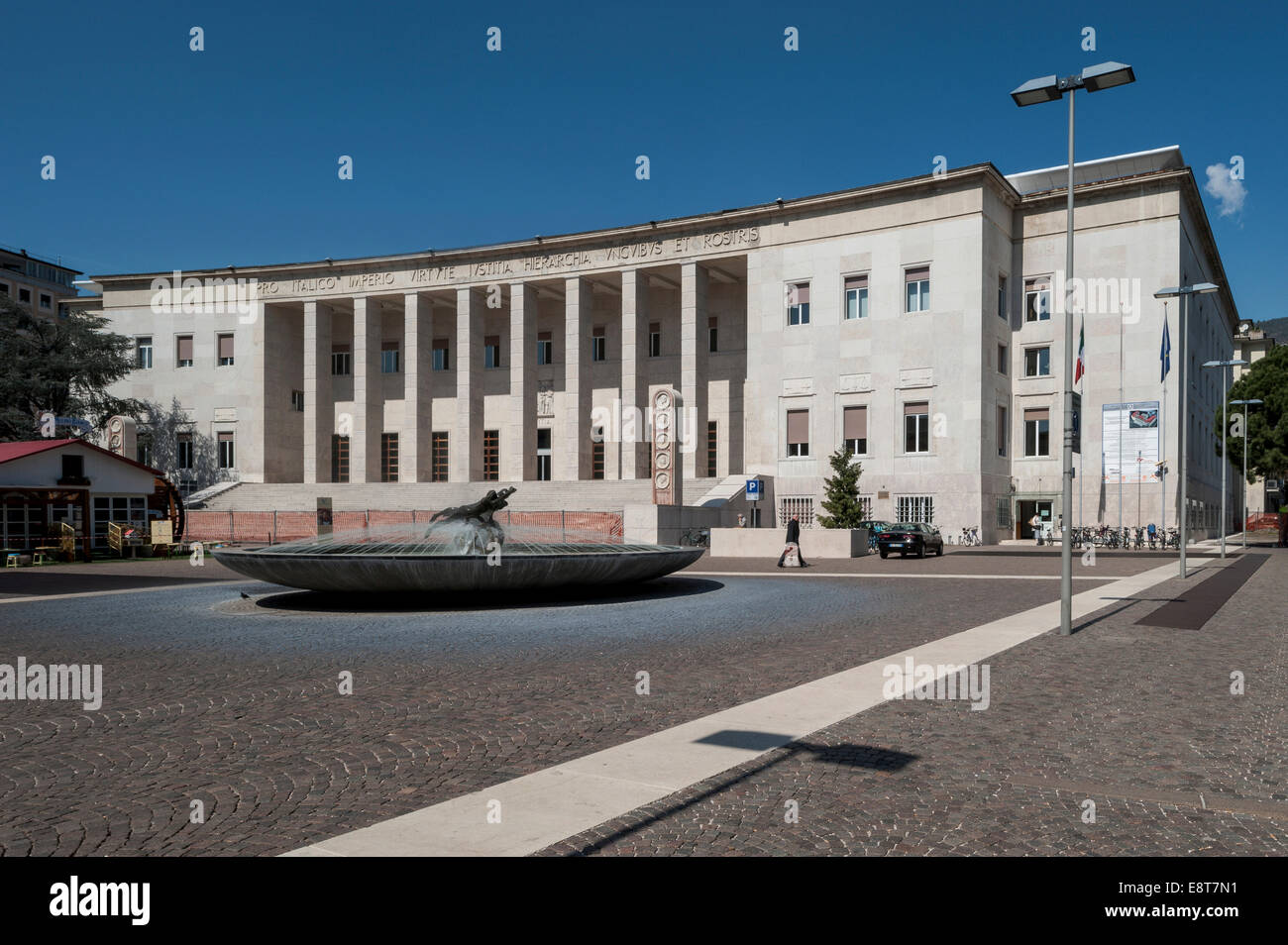 Bozen courthouse, monumental building in fascism under Mussolini, 1942, Neustadt, Gries-Quirein, Bolzano, Trentino - Stock Image
