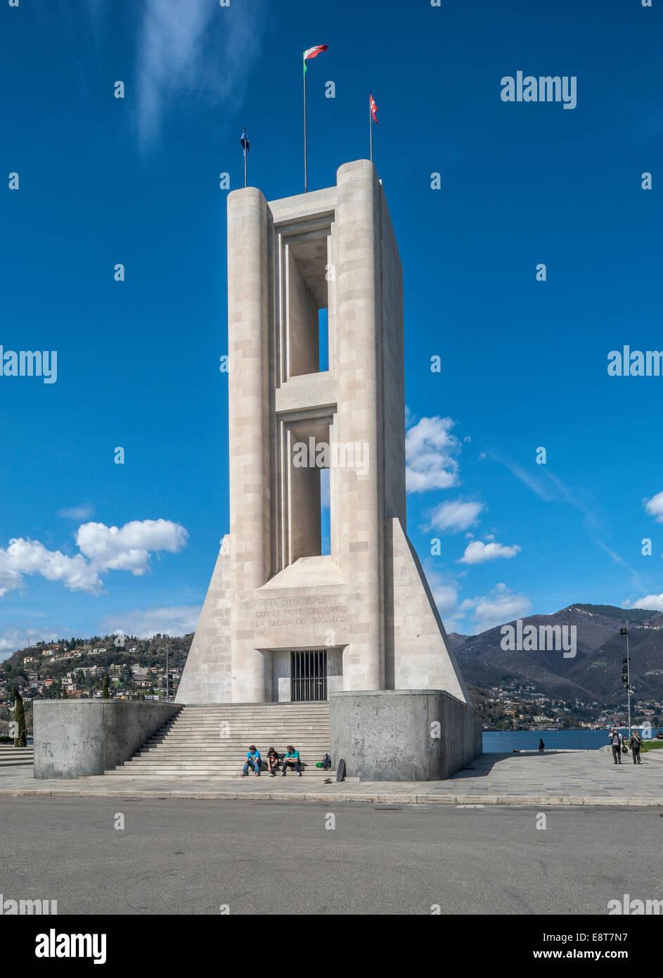 Monumento ai Caduti War memorial on Lake Como, architect Giuseppe Terragni, neoclassicism, Como, Italy - Stock Image