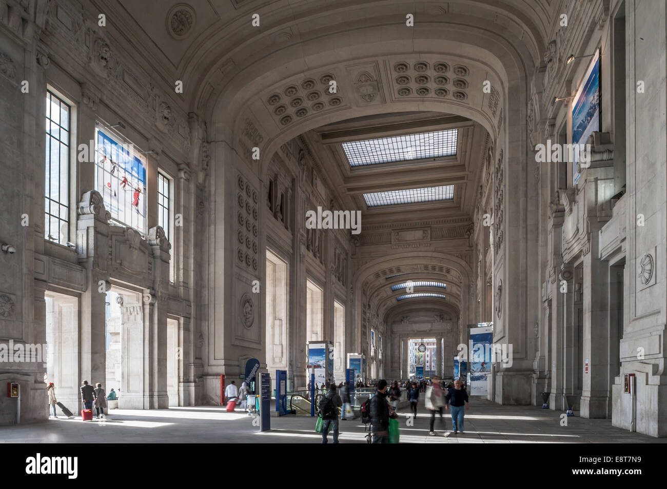 Entrance Hall, monumental architecture of the Italian fascism, 1931, Milano Centrale railway statio, Milan, Lombardy, - Stock Image