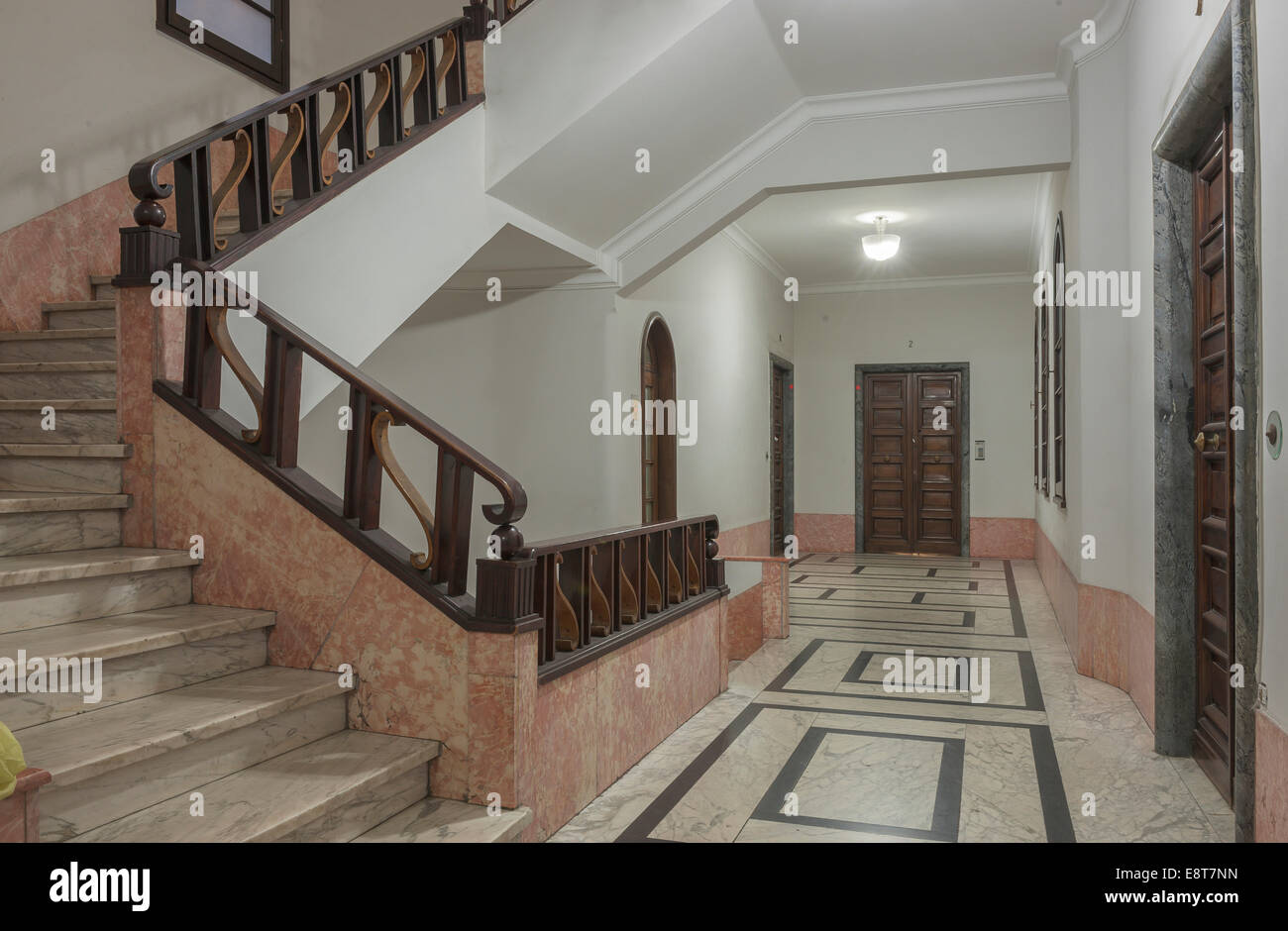 Hallway, interior design of the 30s, architecture in Italian fascism under Mussolini, Piazza della Vittoria, Genoa, - Stock Image