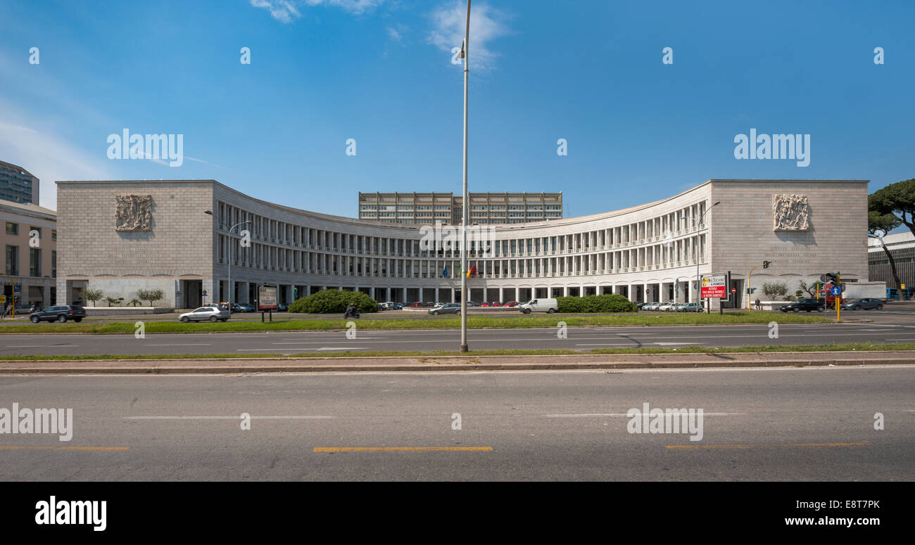 Office complex of INA, Instituto Nazionale delle Assicurazioni, built 1939-1943, EUR district, prestigious project - Stock Image
