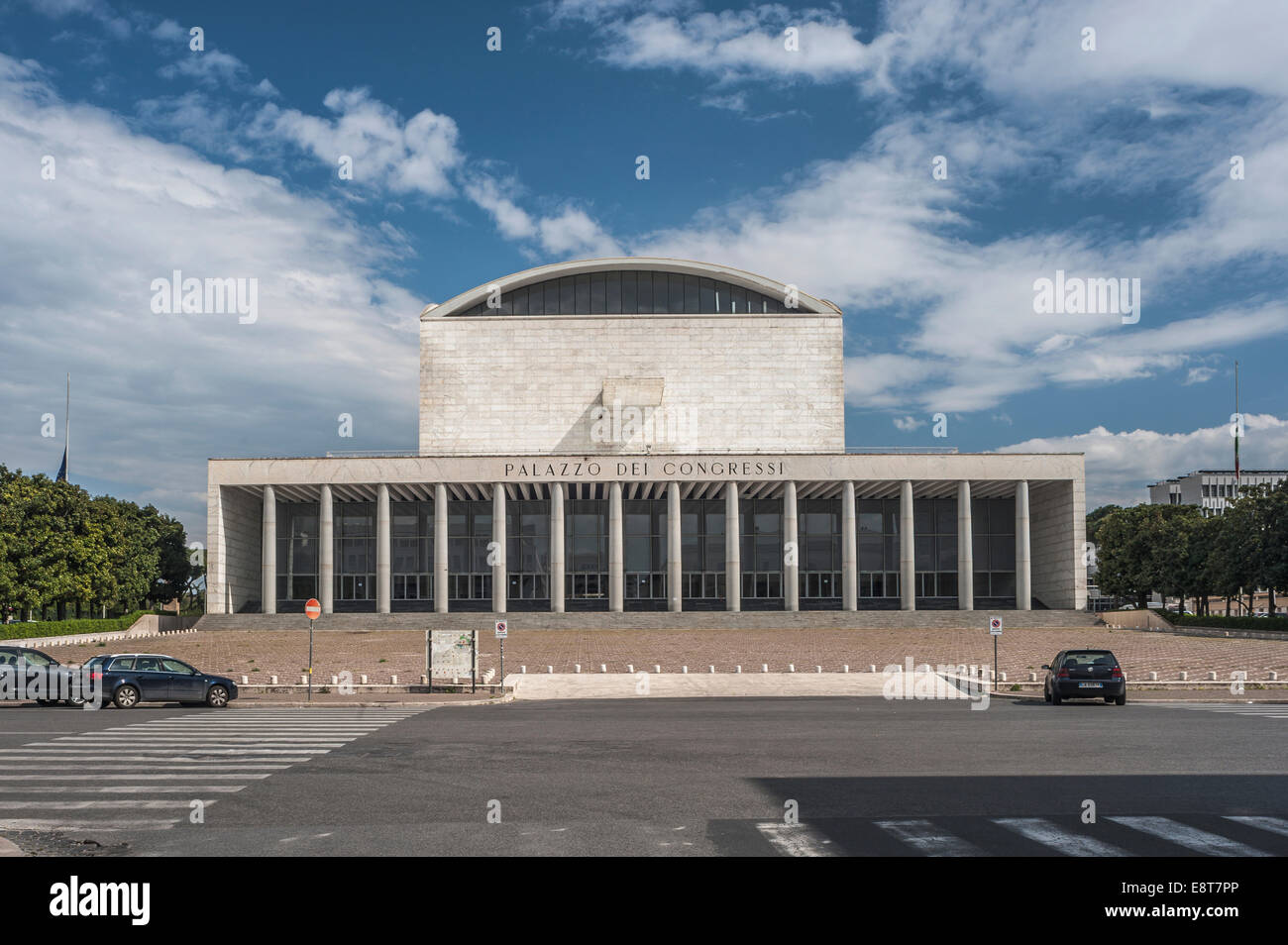 Palazzo dei Congressi e Ricevimenti, Congress Palace, 1937-1954, in the EUR district, prestigious project of the - Stock Image
