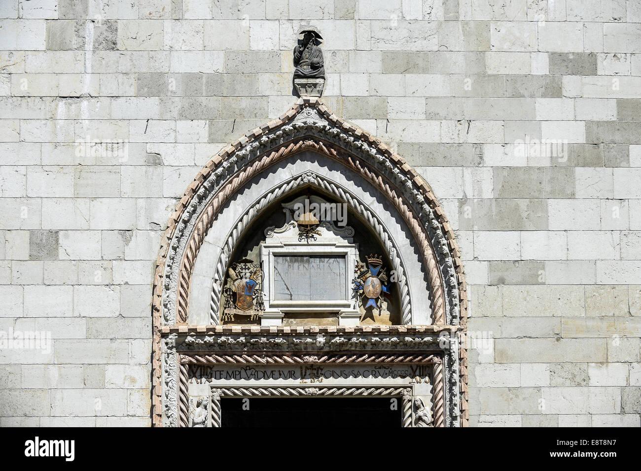 Italia Friuli V.G. Cividale Il portale del Duomo di Santa Maria Assunta del XV° sec. è opera di J. Venezian (1465) Stock Photo