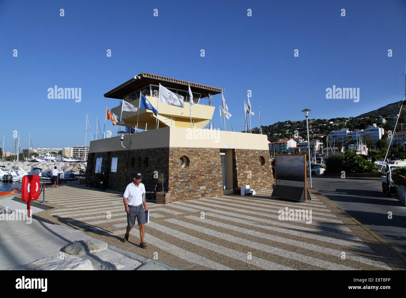 harbourmaster harbormaster in the port of Le Lavandou.cote d'azur.france. - Stock Image