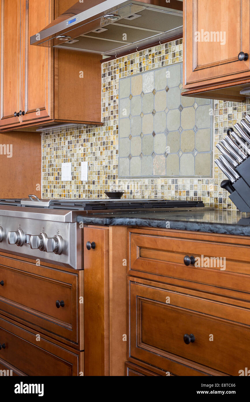 - Tile Back Splash And Stove In Rustic Kitchen Stock Photo - Alamy