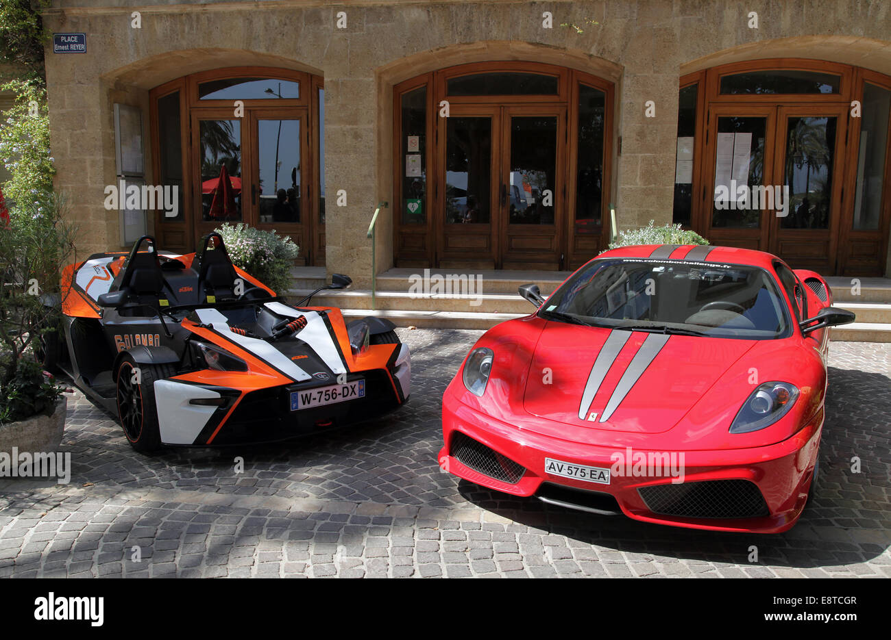Sports car.KTM X-Bow R and Ferrari F430 Scuderia. - Stock Image