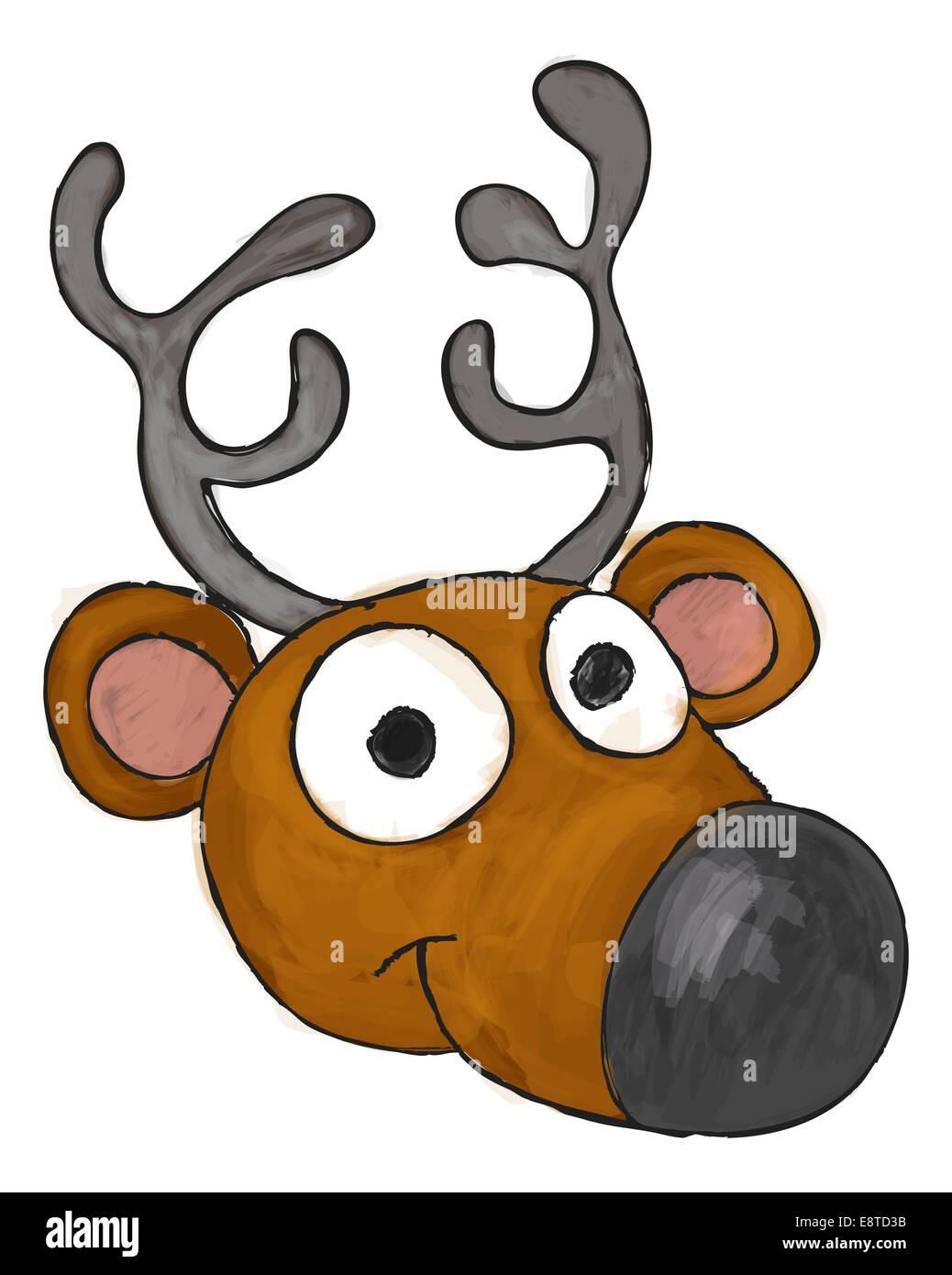 An illustration of a cute cartoon Christmas reindeers head - Stock Image