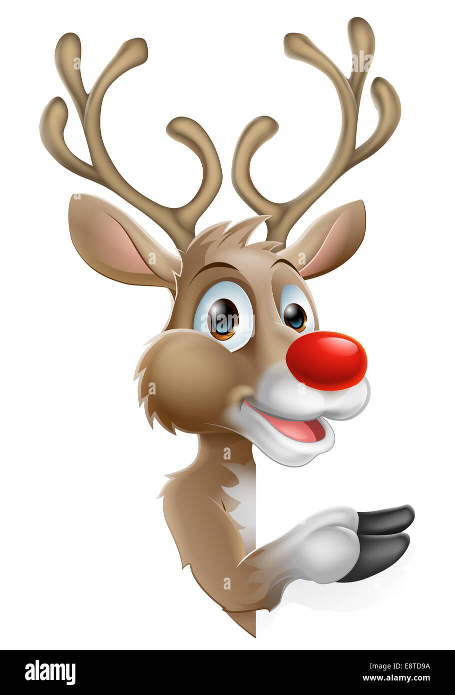 Cartoon Santas Christmas Reindeer peeking around a sign and pointing - Stock Image