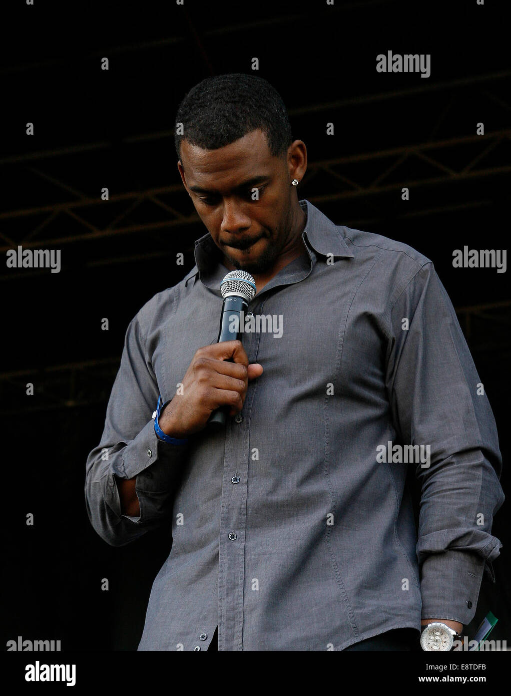 TV and Radio personality Richard Blackwood on stage in Hyde Park - Stock Image