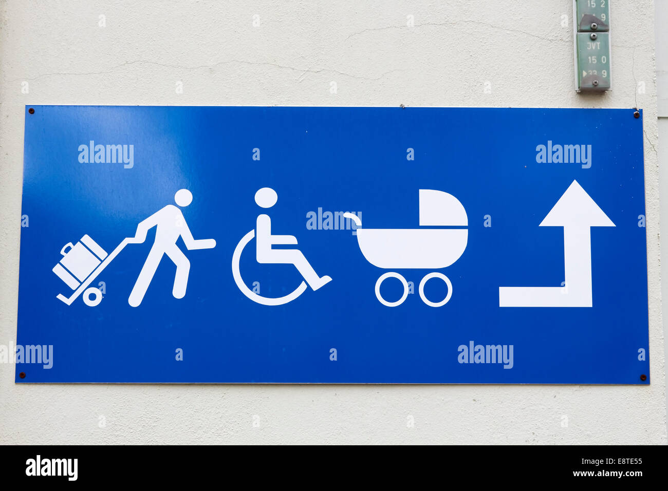 passegers guidance sign, Kuopio railway station, Finland - Stock Image