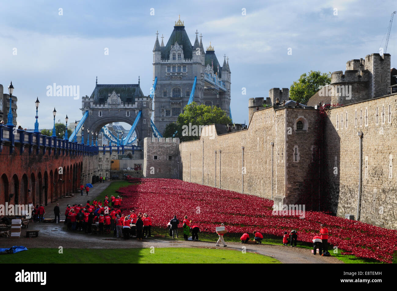 Tower of London Remembers poppy installation Stock Photo